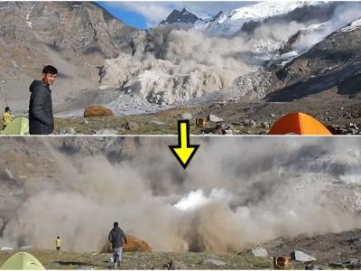 印度科学家无惧雪崩来袭 走近雪山以手机纪录震撼一刻
