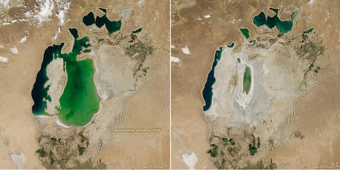NASA公布的照片显示,咸海2016年(右)对比2000年(左),面积明显缩小。