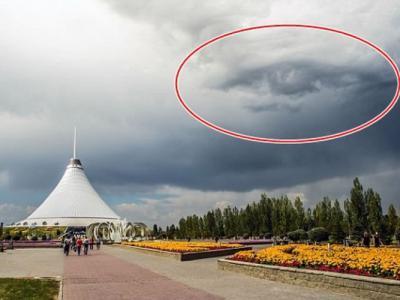 """哈萨克首都阿斯塔纳天空出现异象 与光明会""""金字塔之眼""""十分相似"""