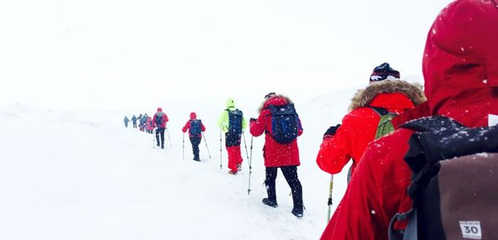 船客在旅程中,可以体验前所未有的经历,包括在北极雪地行走。