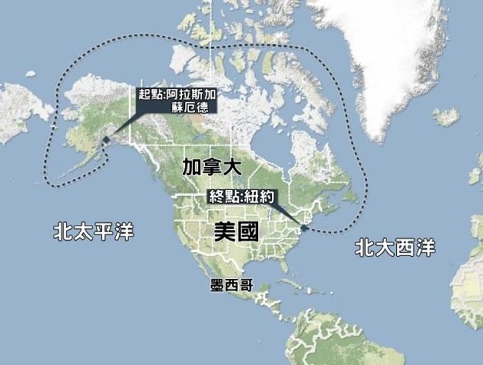 尚宁号由阿拉斯加出发,以纽约为终点。
