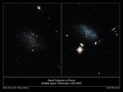 哈勃太空望远镜发现一对正冲向银河系的矮星系