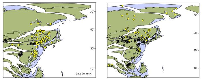 苏铁杉化石在东亚地区侏罗纪时期的分布