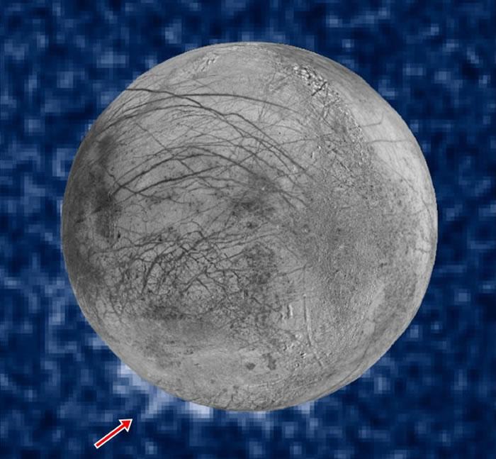 科学家分析哈勃太空望远镜拍得的影像,发现木卫二南极疑似有蒸气喷发。