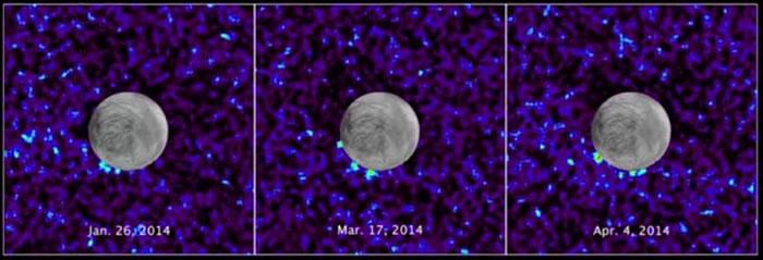 图为2014年木卫二3次可能喷出蒸气柱的情况。