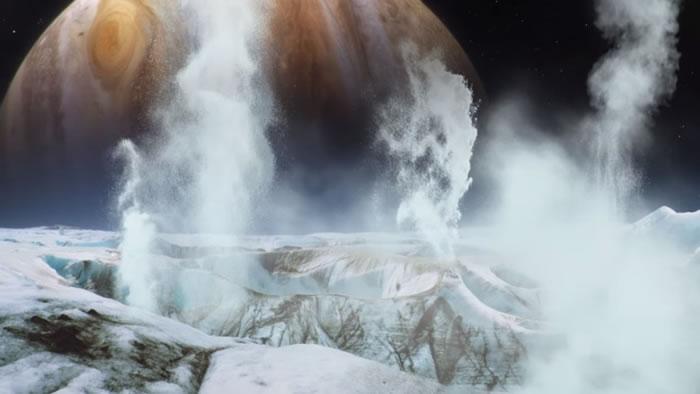 画家笔下木卫二喷出蒸气的情形。