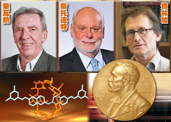 三位科学家凭着研发世上最微型的分子机器,夺得诺贝尔化学奖。