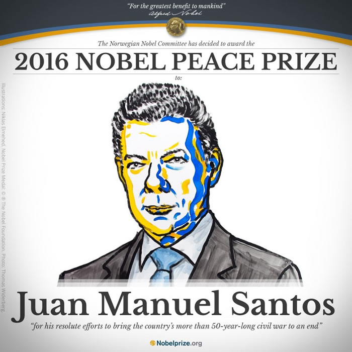 桑托斯获得诺贝尔和平奖。