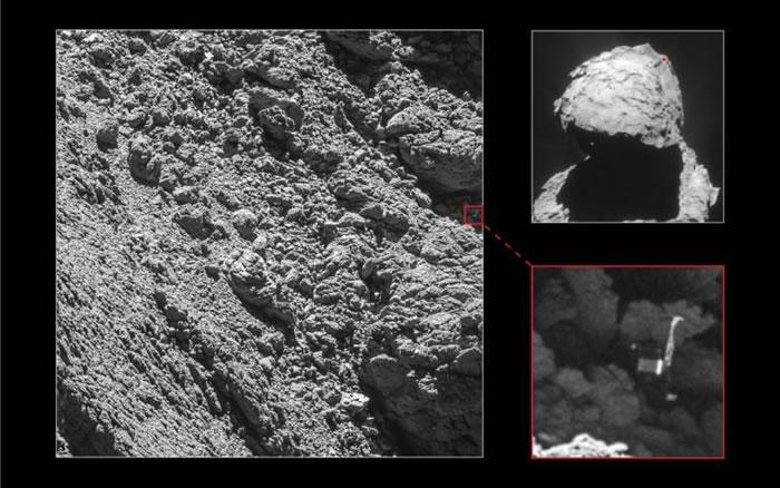 在罗赛塔号画下句点前的最后一个月,其高解析度相机找到了失踪的登陆器──菲莱号,它就卡在67P/丘留莫夫-格拉西缅科彗星上一个幽暗裂缝中。 PHOTOGRAPH