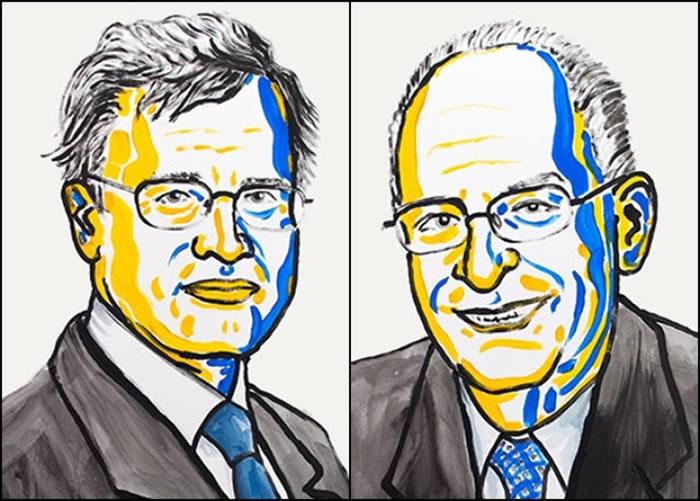 霍尔姆斯特伦(左)及哈特(右)共同获奖。