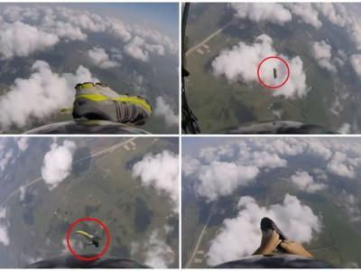 美国男子跳伞时竟然连鞋子都飞脱 半空中拦截并成功穿回