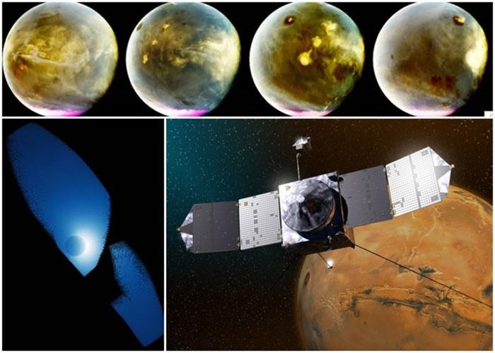 无人探测太空船拍到火星大气层的影像。