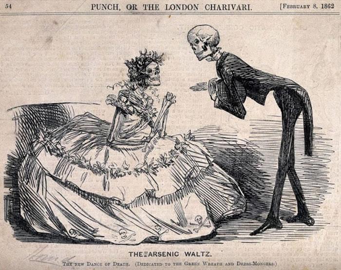 卡通《砷之华尔滋》(The Arsenic Waltz)提到衣服和人造花中的砷成分。一名成衣厂工人死于砷中毒数月后,英国讽刺漫画杂志《Punch》出现了这幅插图