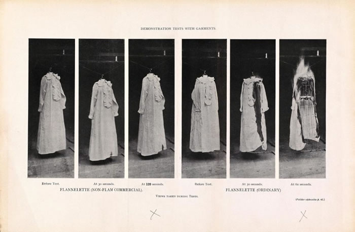 1910年,英国消防委员会展示了易燃的绒布料。图左为防火的服装,图右则为不防火衣物。不防火的衣服在六十秒之内便为火舌吞噬。 PHOTOGRAPH COURTES