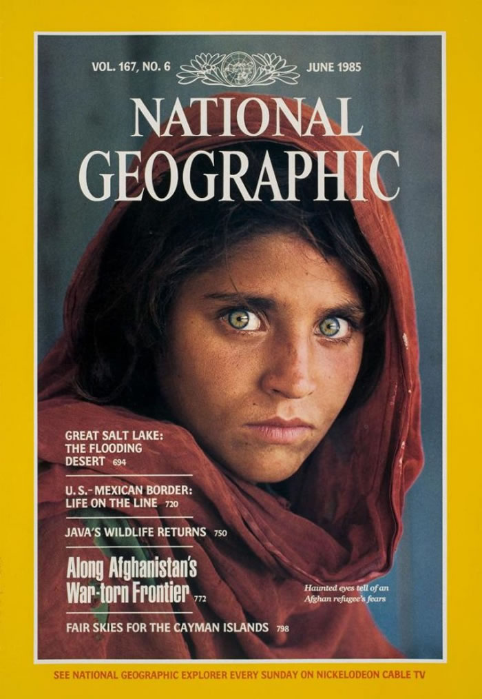 古拉因為上了1985年《國家地理》雜誌六月號的封面而成名。 / COVER PHOTOGRAPH BY STEVE MCCURRY, NATIONAL GEOG