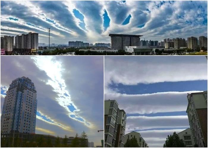 """河南安阳市、林州市等豫北地区,近日净空出现""""地震云""""奇观,引发网民热议。"""