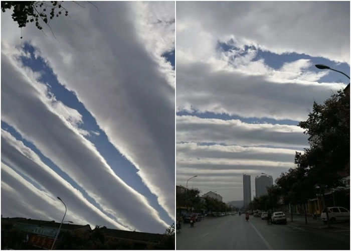 蓝天净空出现一段段的阶级状云层。