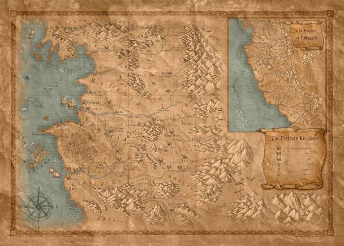 萨普科夫斯基并无推出官方地图,但游戏商及不少粉丝均有创作《猎魔士》的地图供人参考。图中可见尼弗迦德帝国在偏远南方。
