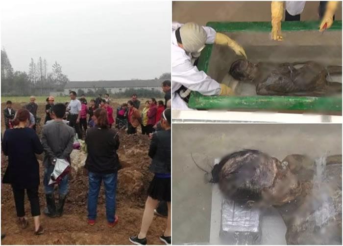 高陵镇徐家岗村近日出土了一具历史逾5百年的女尸,让当地民众啧啧称奇。