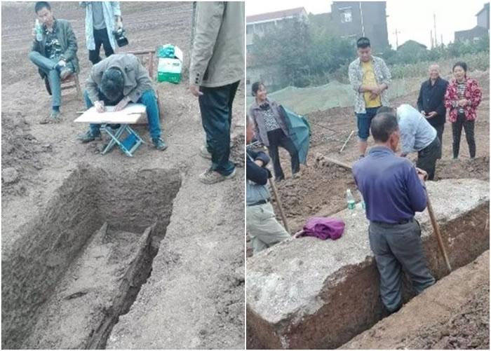 现场工作人员小心翼翼地发掘棺木。