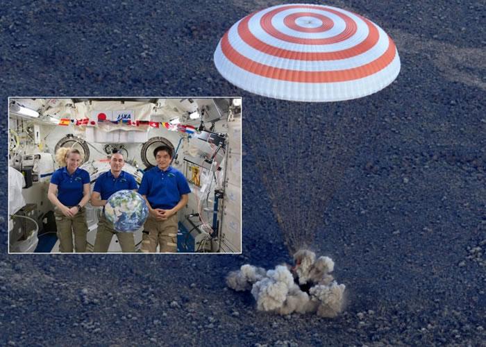 鲁宾斯(小图左)、埃文尼辛(小图中)及大西卓哉(小图右)的太空舱在哈萨克着落。
