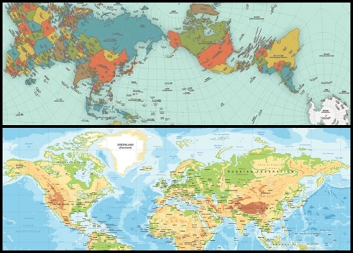 鸣川肇的新地图(图上)忠于现实比例。图下为墨卡托所制的惯用地图。
