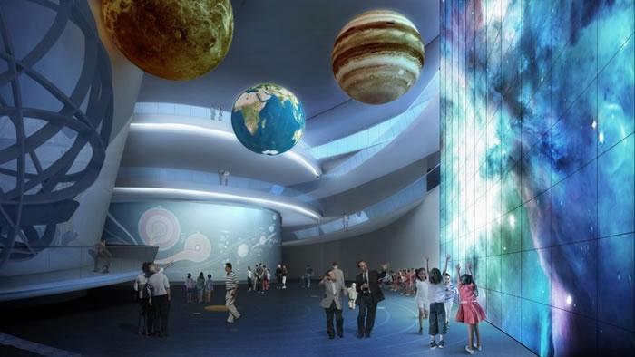馆内的主展区共有家园、宇宙、征程3个展区,包括多个领域。