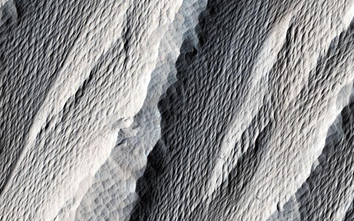 风向长期以同方向吹拂,沉积岩被刻划出柔顺纹理
