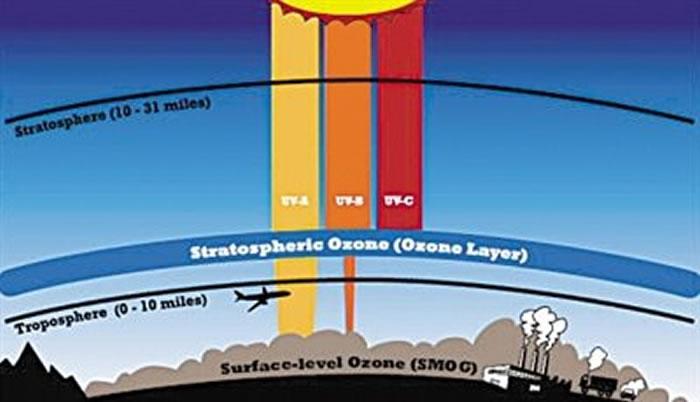 平流层中的臭氧层阻挡有害紫外辐射到达地球表面,伽马射线暴将消耗臭氧层,让紫外线辐射通过。