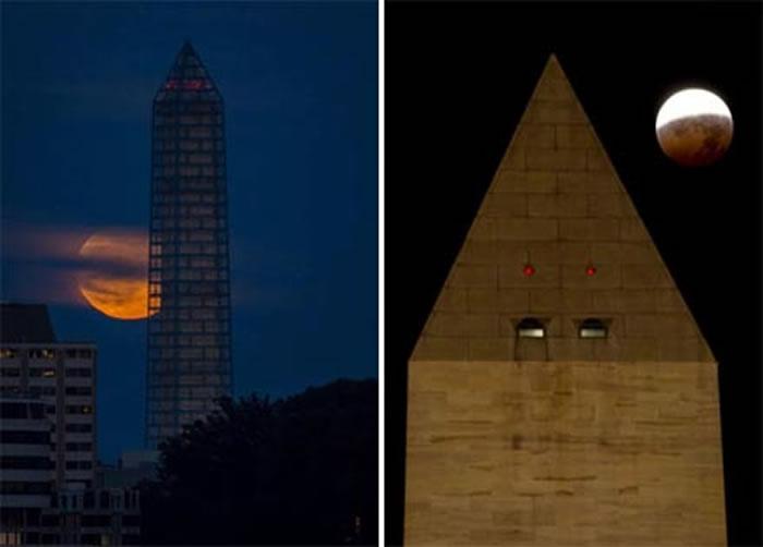 左:2013年6月23日,华盛顿纪念碑后方的超级月亮。 / 右:2010年12月21日冬至,华盛顿纪念碑与月全食景象。 / Photograph by Bill