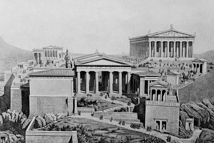 雅典卫城是民主史上的重要象征,但古希腊人的民主制度有不少层面没有流传到现代。 LLUSTRATION FROM UNIVERSAL HISTORY ARCHIV