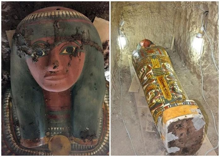 估计为埃及贵族的木乃伊,出土时完好无缺。