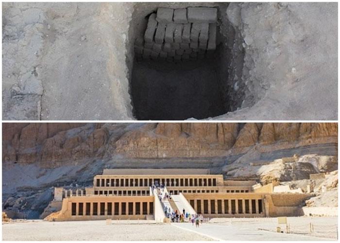 墓穴(上图)位于图特摩斯三世时期所建的一座神庙(下图)附近。