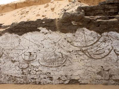 考古学大发现:公元前1840年古埃及国王地下泥砖船型墓室内壁绘有一整支舰队