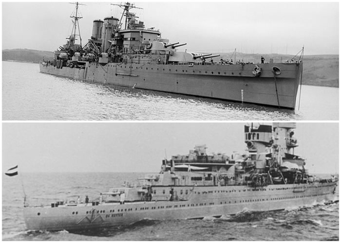 英国的埃克塞特号(上图)及荷兰的德·鲁特伊号(下图)残骸不翼而飞。
