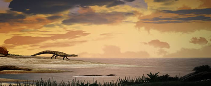 """梦中的史前巨鳄"":梦境滨鳄(Litorosuchus somnii)复原图(陈瑜绘)"
