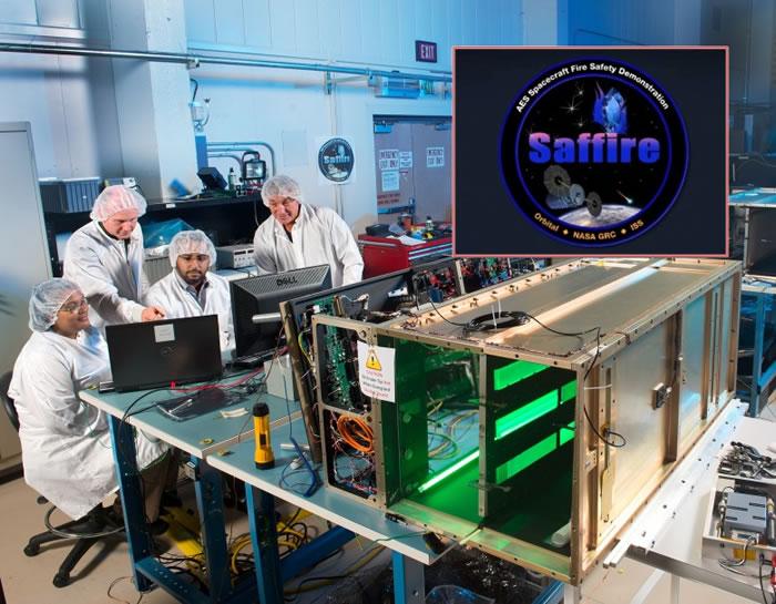 一班科学家和工程师正在为Saffire放火实验进行测试。