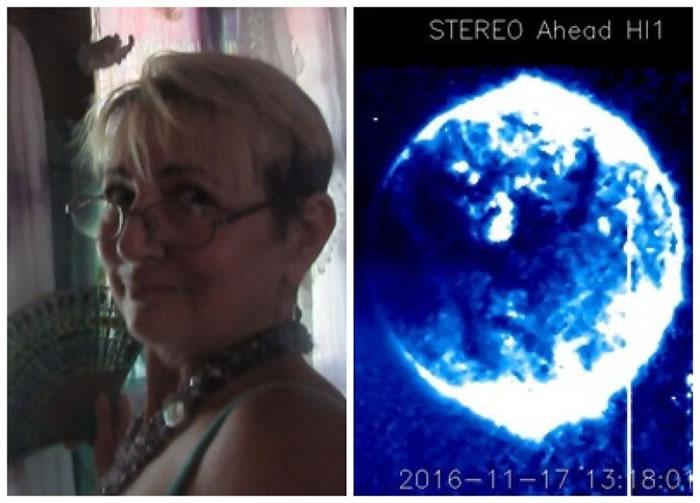 女网民约翰逊(左)称发现了美国卫星STEREO拍到巨球飞过太阳(右)。