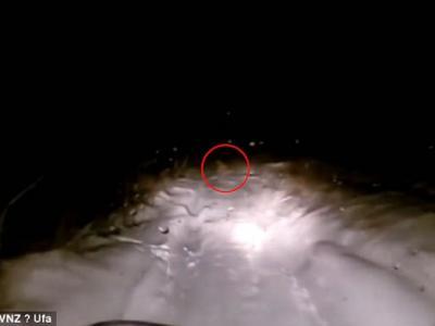 """俄罗斯西伯利亚汽车行车纪录仪拍到疑为传说生物""""喜马拉雅山雪人""""深夜冲出公路"""