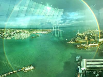 英国汉普郡的朴茨茅斯现罕见圆形彩虹 色彩斑斓极艳丽