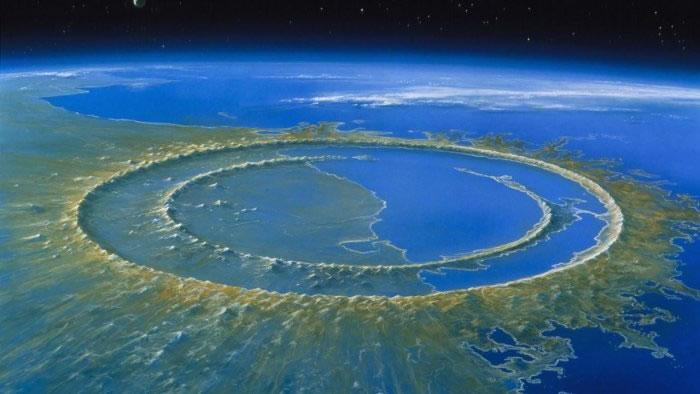 艺术家为6600万年前小行星撞击事件发生后很快形成的希克苏鲁伯撞击坑绘制的重建图。