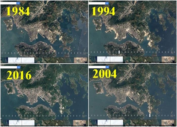 Google的Timelapse缩时摄影推出更新,让网民可瞬间看地貌32年来转变。图为香港的Timelapse