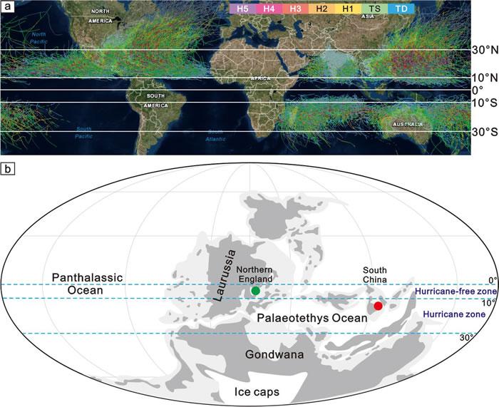 (a)现代全球飓风出现频率和强度分布图;(b)密西西比亚纪维宪晚期-谢尔普霍夫期华南混乱埋藏的腕足壳层和英国原位埋藏的腕足壳层的古纬度,以及飓风带和无飓风带的分