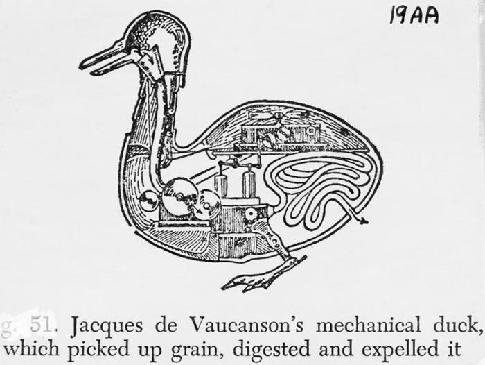 贾奎兹‧迪‧沃康松(Jacques de Vaucanson)发明了这只机械鸭子,他同时也想到该如何为机器设定程式,让机器在布料上织出图