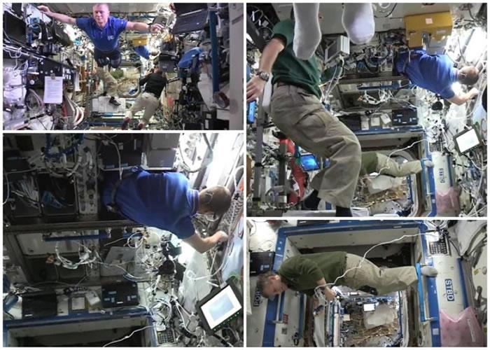 太空人在无重力下大玩定格挑战。