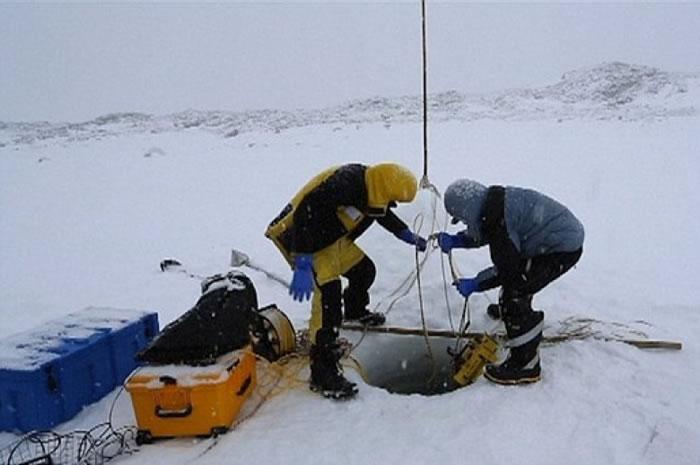 科家学在冰层钻洞。