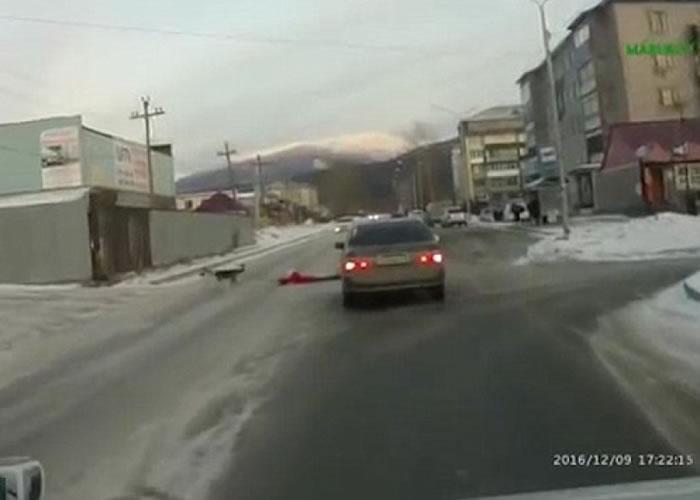 狗狗拖主人过马路。