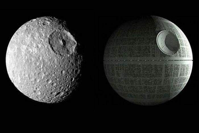 """《星际大战》里的""""死星""""在宇宙中竟然有本尊:土卫一Mimas"""