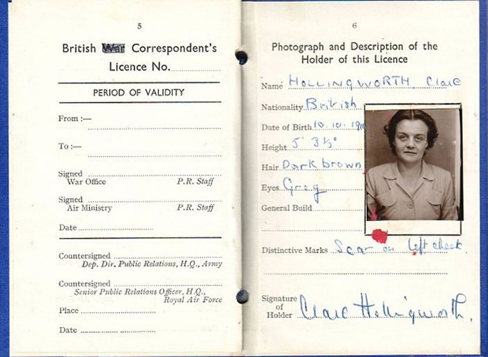 霍林沃思的英国战地记者证。
