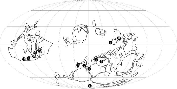 世界其他地区罗德洛世隐孢子和三缝孢的古地理分布